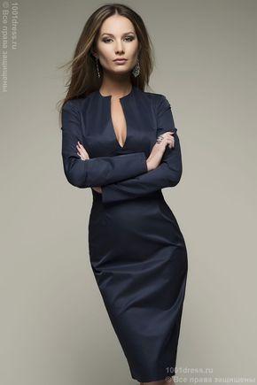 Платье синее с длинным рукавом DM00073BL , синий в интернет магазине Платья для самых красивых 1001dress.Ru