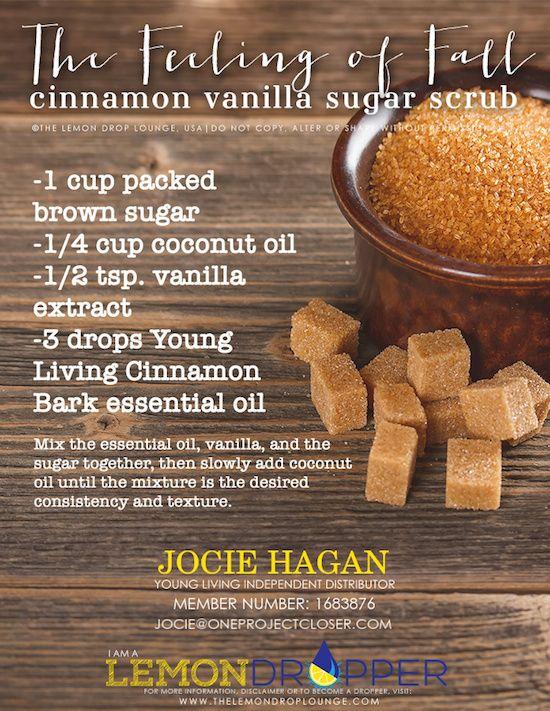 Cinnamon Vanilla Sugar Scrub Recipe with Happy Fall Essential Oil Promo
