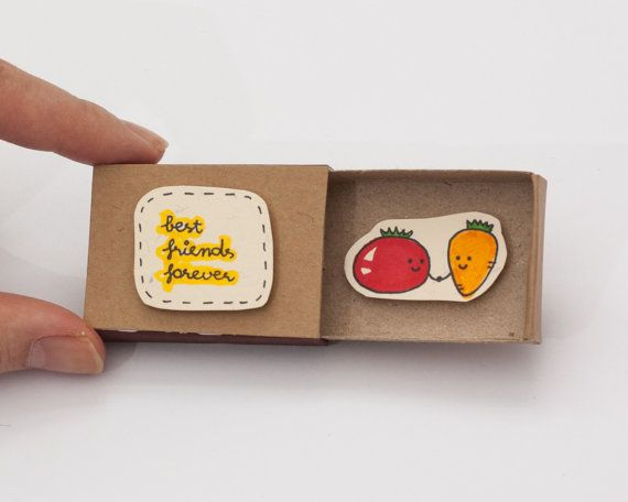 "Friendship Card Matchbox/ Gift box/ ""Best Friends Forever"" Carrot Tomato"