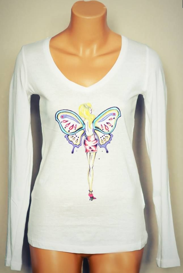 Handmade painted blouse with textile colors. Butterfly girl design.