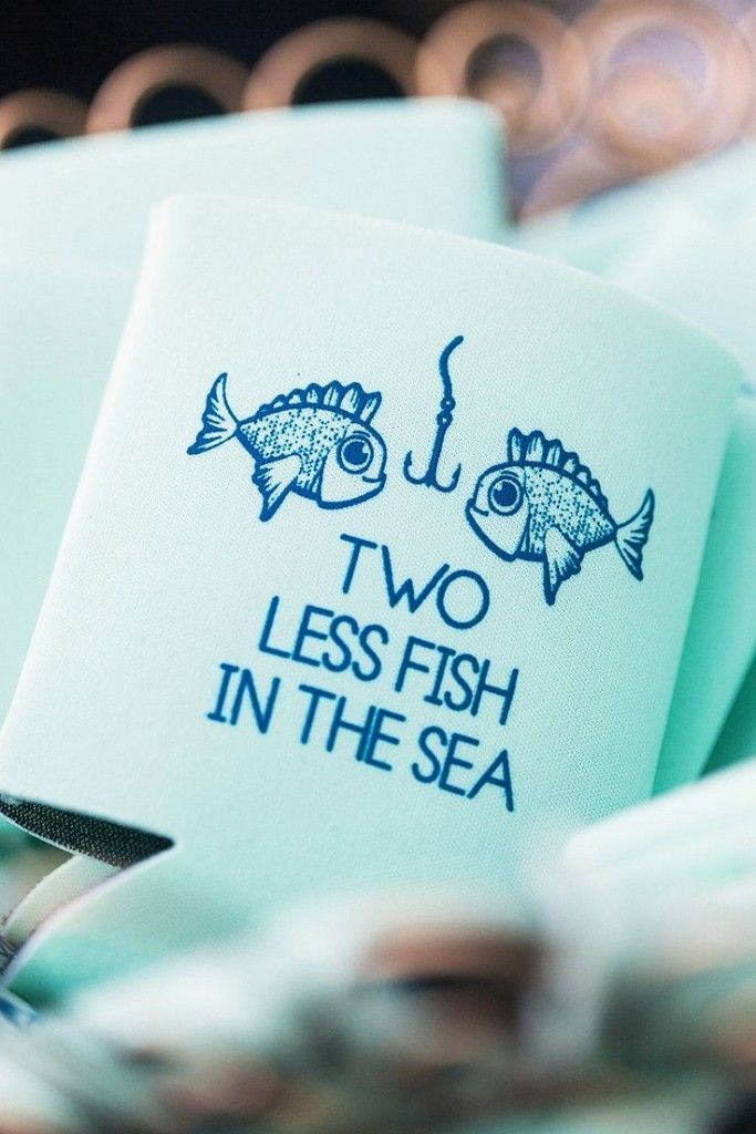 diy beach theme wedding centerpieces%0A cute fish koozie beach wedding favor ideas
