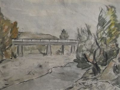 The oldest watercolour from the aquarelist collection - 1958, River Jiul, the valley.