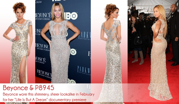 We've got another amazing lookalike for all you Beyonce lovers out there! Mimic her red carpet look for prom with P8945!  http://preciousformalsblog.com/2013/04/11/celeb-style-beyonce-p8945/