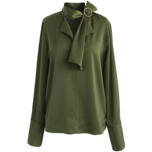 Chicwish Give in to Elegance Smock Top in Olive found on Polyvore featuring tops, blouses, smocked blouse, emerald green blouse, green top, loose blouse and sash belt