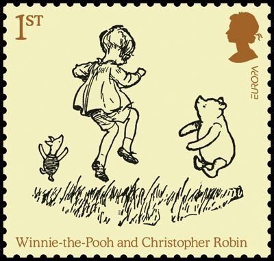 1st class stamp, Pooh, Piglet and Christopher Robin skipping around, from Now We Are Six.
