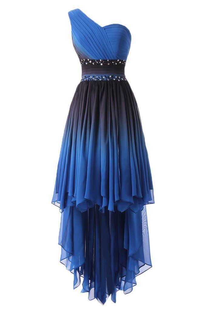 DINGZAN eine Schulter hoch niedrig Chiffon Prom Sommer Brautjungfer Kleid