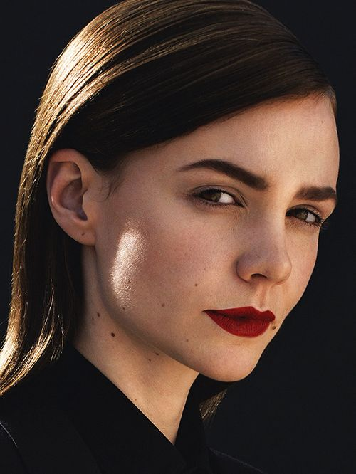 Strong brow and bold lip.