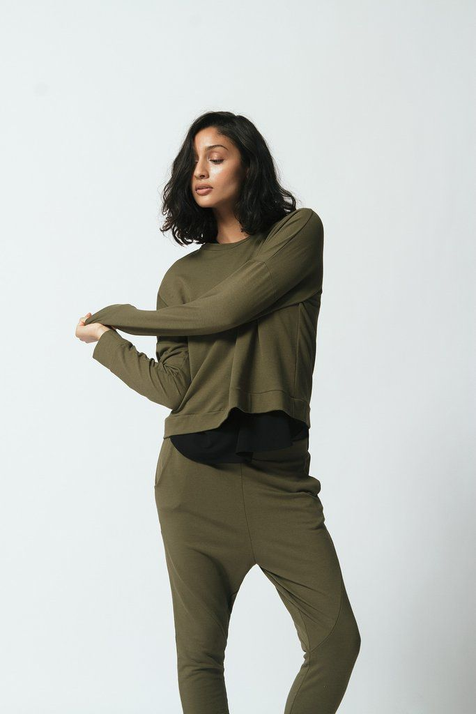 canadian made bamboo terry cloth sweatpants with side pockets and drop crotch for an extra comfy fit