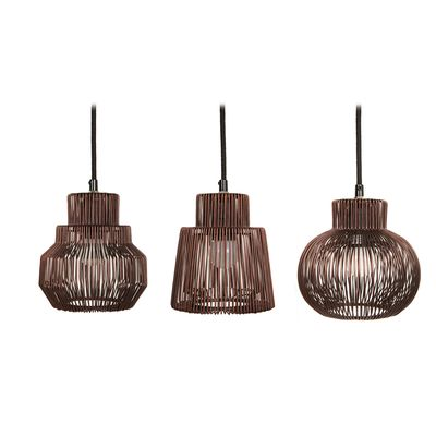 Iron wire copper pendant light set of 3