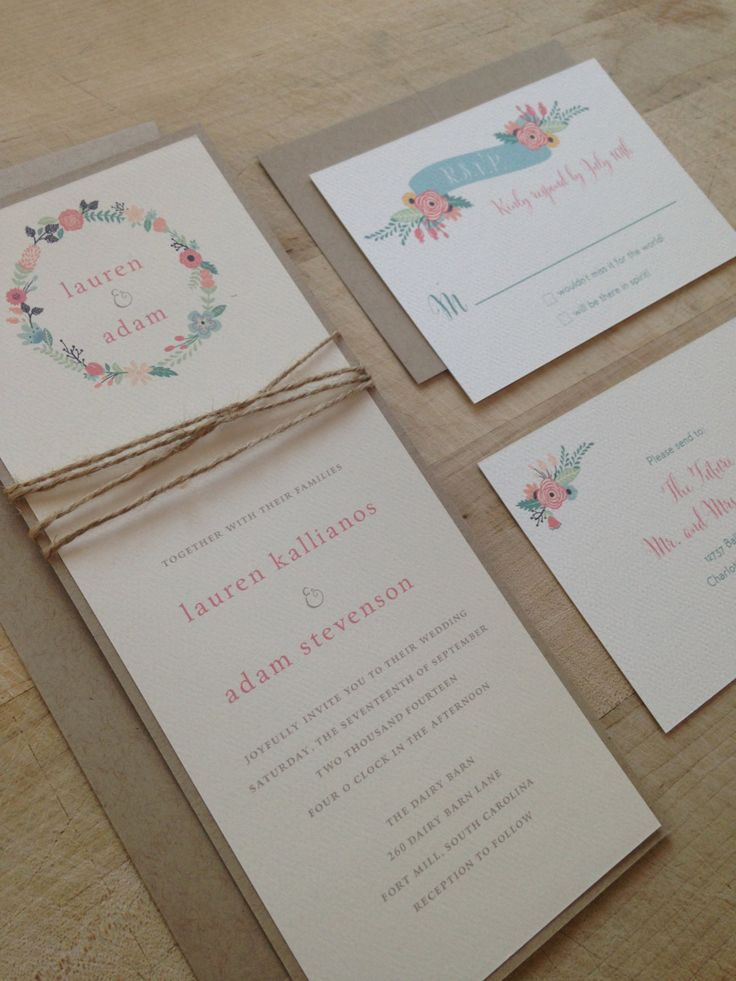 Floral Vintage Twine Wedding Invitation by AMGDesignCo on Etsy