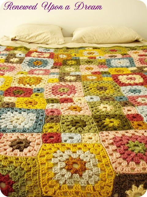 Crochet Granny Square Large Afghan Blanket!  So pretty!!