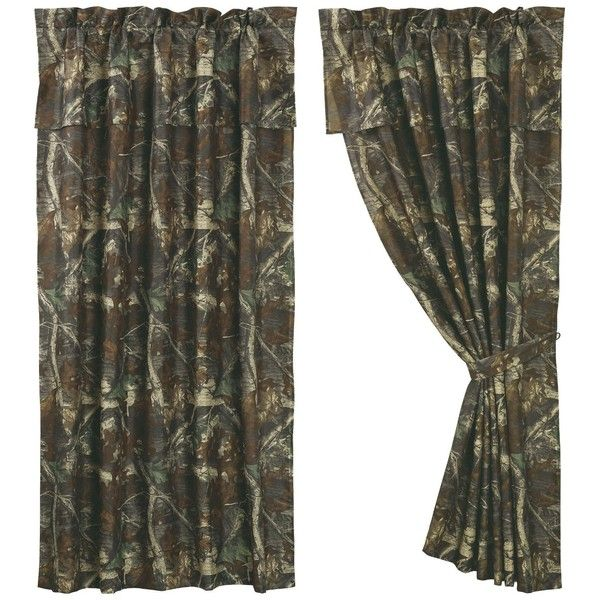 "Oak Camo Curtain, 60""X84"" ❤ liked on Polyvore featuring home, home decor, window treatments, curtains, camouflage curtains, camo home decor, camo curtains and camouflage home decor"