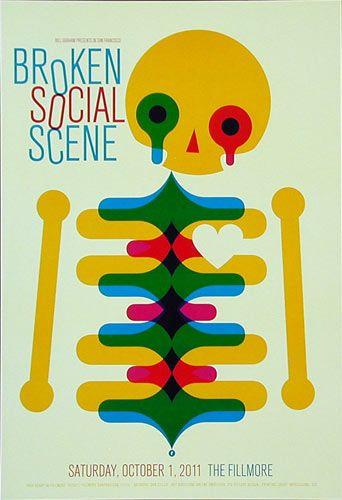 Concert Poster - Broken Social Scene New Fillmore Poster ( skeleton motif - screen print )