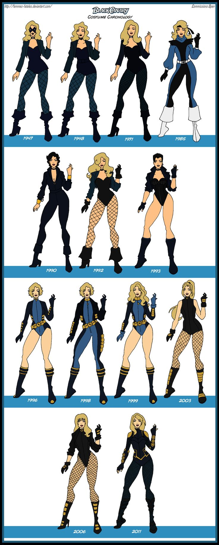 Black Canary Costume Chronology by Femmes-Fatales.deviantart.com on @DeviantArt