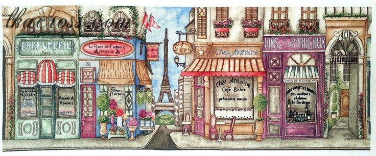 "Cross stitch pattern ""Street in Paris""."