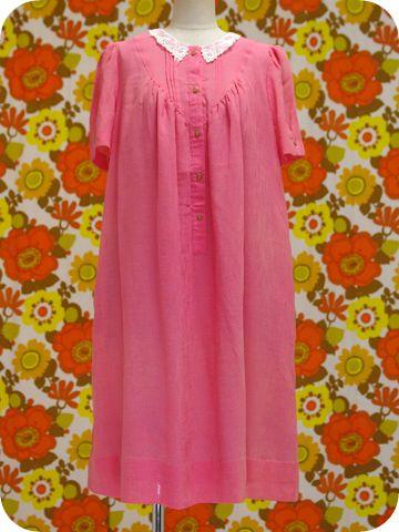 白レース襟胸元切替ピンクのワンピース - メトロポリタン オンライン (レトロ・ヴィンテージ古着 通販)