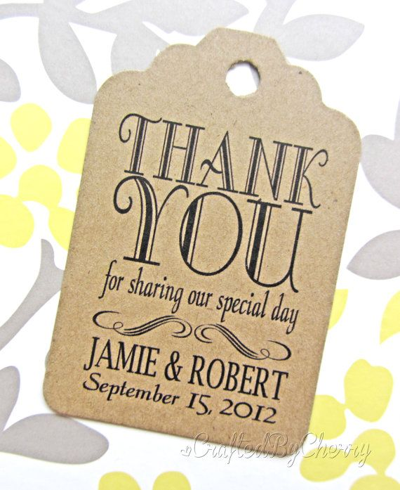 Wedding Gift Bag Thank You Tags : Thank You Wedding Favor Tags - Kraft Cardstock Wedding Favor Tags ...