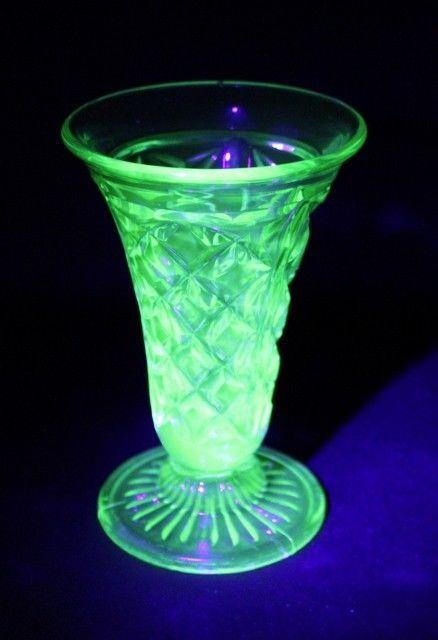 Spectacular Australian CROWN CRYSTAL Green URANIUM Glass Vase Diamond Pattern #DEPRESSION