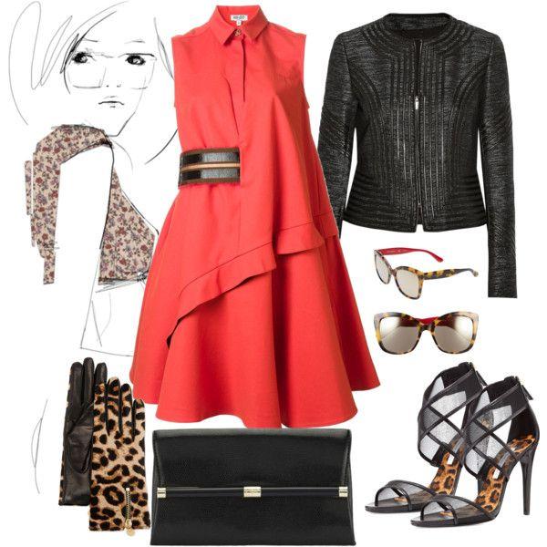 """coral-black-leopard street style"" by ildikos on Polyvore"