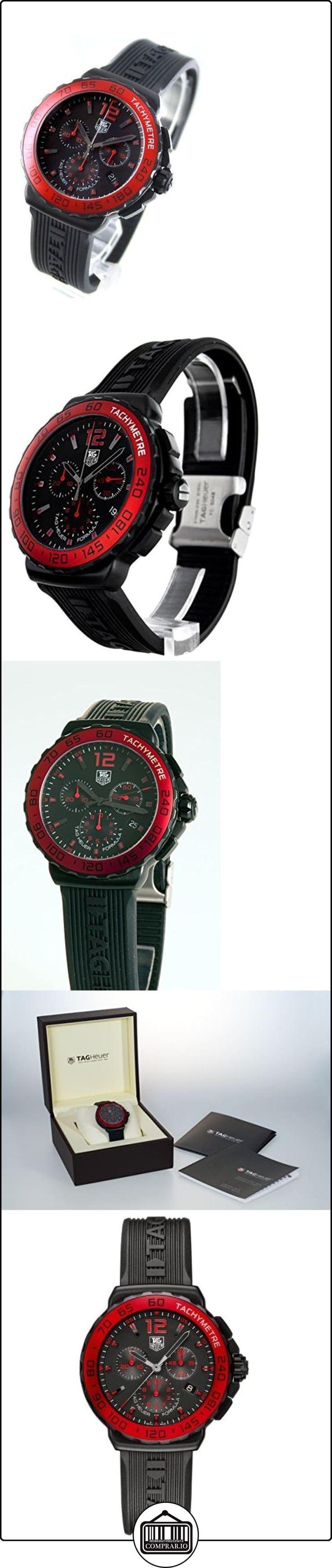 Tag Heuer Formula 1cronógrafo Rojo Bisel reloj de hombre de cuarzo con Negro esfera Cronógrafo y Correa de Goma en color negro CAU1117. FT6024  ✿ Relojes para hombre - (Lujo) ✿