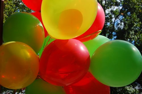 red green yellow balloons