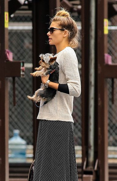Australian Model Jessica Hart waits for her boyfriend Stavros Niarchos to pick up her and her Yorkie in New York City, NY on October 1st, 2012.
