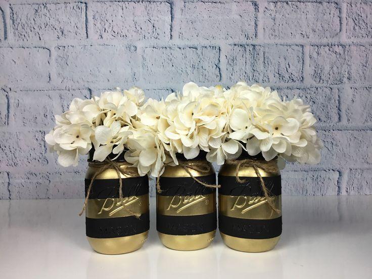 Gold Party Decor, Schwarz und Gold Einmachglas Set, Tafelaufsätze, Abschlussdekorationen, Hochzeitsdekor, gestreifte Einmachgläser, Goldstreifen