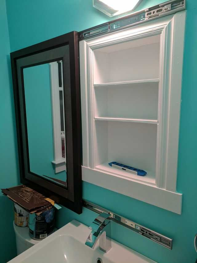 I Made A Recessed Medicine Cabinet Hidden Behind A Sliding Mirror Idea Stolen From U Zealotnic On R Diy Bathroom Mirrors Diy Small Bathroom Storage Bathroom Mirror Cabinet