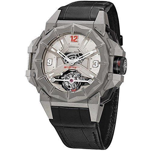 great Snyper Tourbillon F117 Titanium Mens Mechanical Watch Limited Edition - 43mm Analog Silver Face with Sapphire Crystal Black Rubber Band - Swiss Made Titanium Watches For Men 70.910.00