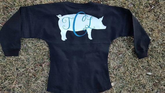 Pig show spirit jersey. Goat show spirit jersey. stock show pom pom jersey  by FlamingoPinksApparel