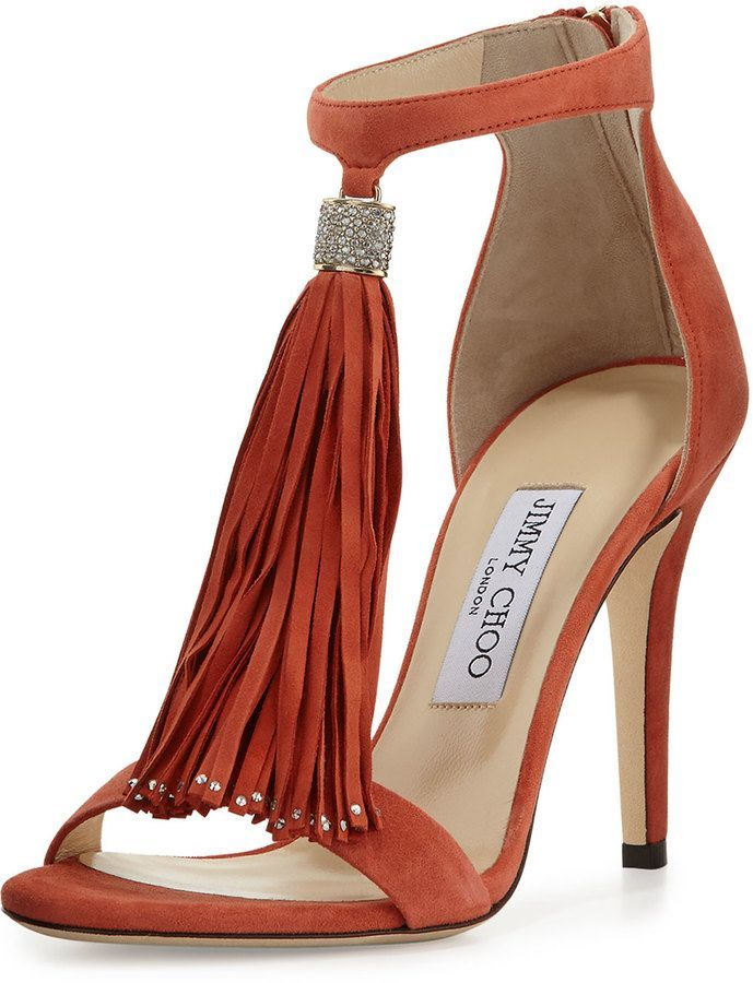 Jimmy Choo Viola Suede Tassel Sandal, Agate #moda #fashion #cuero #leather #bolsos #bags #zapatos #shoes #marroquineria #leathergoods #cinturones #belts #sandalias #sandals #tacones #heels