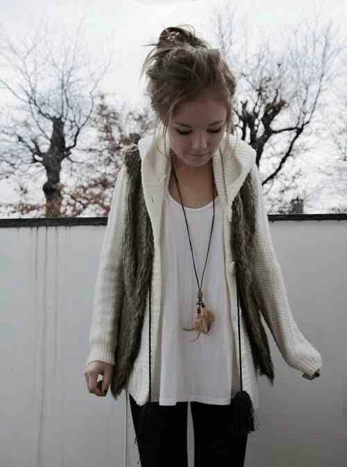 Love the pictured outfit, the lace dress idea and the plaid shirt under white sweater. :)