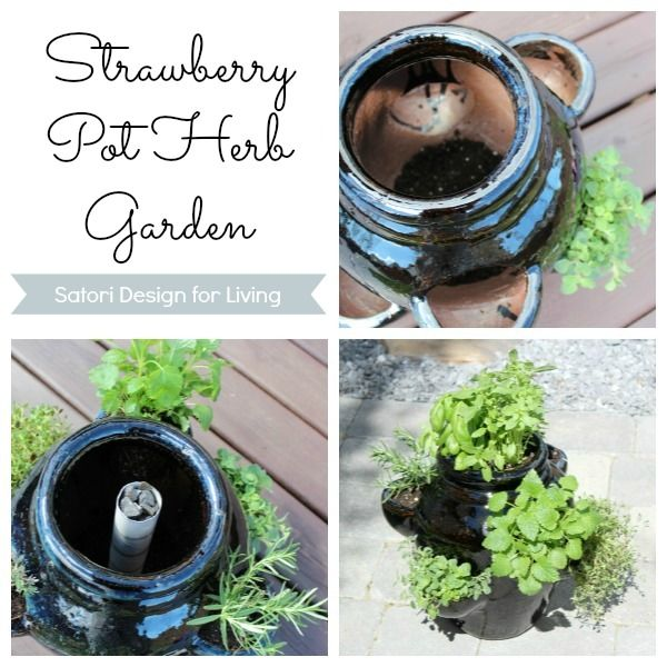 How to Plant a Strawberry Pot Herb Garden    I like this idea! I haven't done well with herbs in smaller pots, so maybe this will work better.