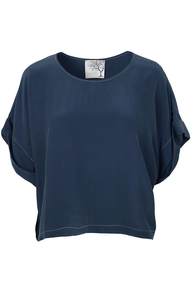 Bluse i blå silke - Mind of Line