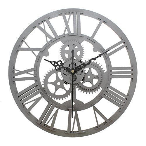Antique Vintage Wall Clock Watch Gears Silver Hollow Style Roman Numerals 13inch #JustNile #HollowVintageRomanNumeralsGears