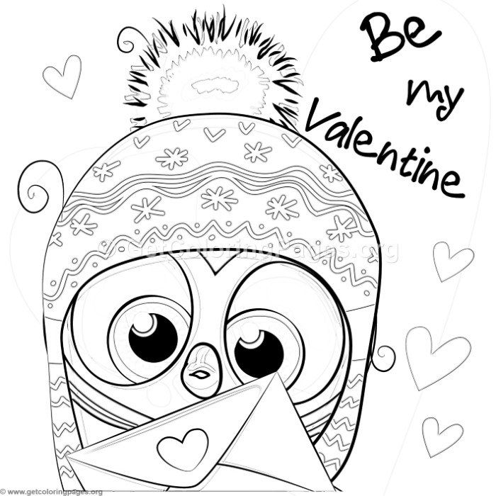 Free Instant Download Be My Valentine Cute Owl Coloring Pages