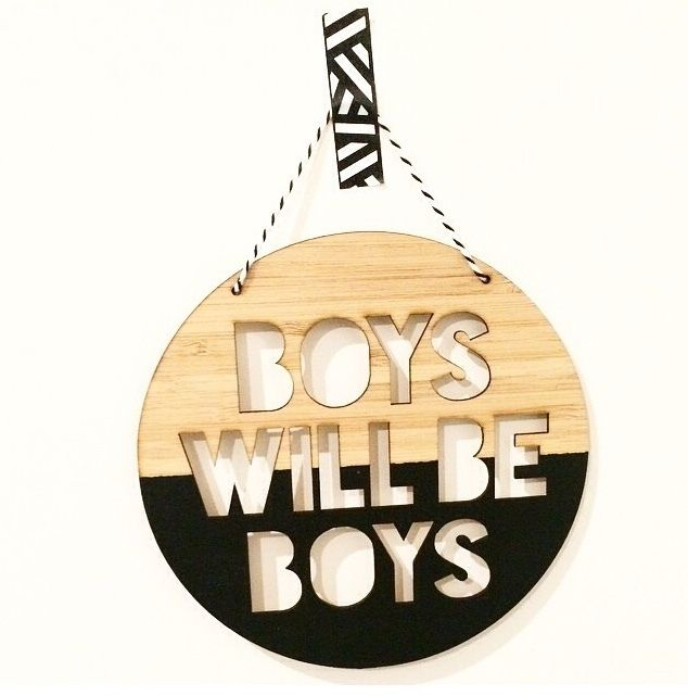 Boys will be boys, and these little truth speakers are perfect for your little lad's bedroom wall, door or playroom. Made from eco-friendly plantation bamboo and ready to hang.Measures approx. 16 cm diameter.Please note that because this is made from natural timber, colours