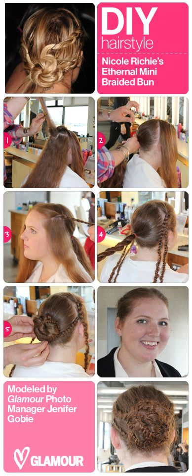 We love Nicole Richie's braided bun so much, we had photo manager Jen Gobie show you how to get it! (With the help of some Bumble & Bumble experts): Glamour Photo, Braided Buns, Bumble Braids, Diy Braids, Braids Mania, Photo Management, Richie Braids, Braids Hair, Braids Buns