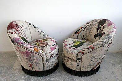 Birds 'n' Bees Fringed Tub Chairs - Timorous Beasties Glasgow showroom. £1200 / pair
