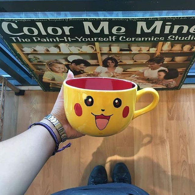 Catch Pokemon and paint Pokemon at COLOR ME MINE! Ask us how you can turn any plain ceramic item into Pikachu or other Pokemon! . #pokemongo #pikachu #paintpottery #paintityourself #colormemine #cmm #cmmlv