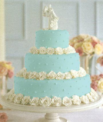 3 round tier Tiffany blue cake with white roses
