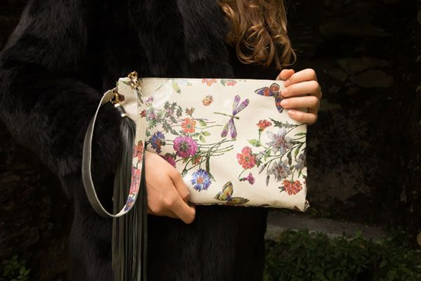 Elena Berton - leather clutch hand painted with fiber-glass coating