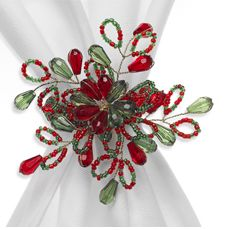 Beautiful Christmas greens and red Napkin Rings.... Just get prepared for next year!