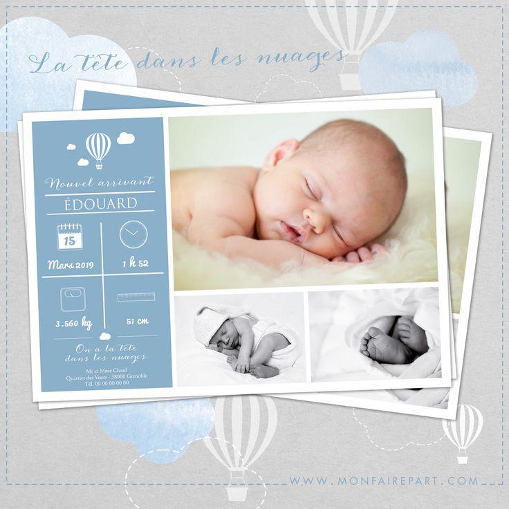 Faire part de naissance raffiné et élégant illustré par des montgolfières et des…
