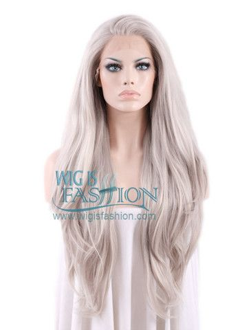 """Long Straight 18""""-39"""" Grey Blonde Lace Front Wig Heat Resistant"""