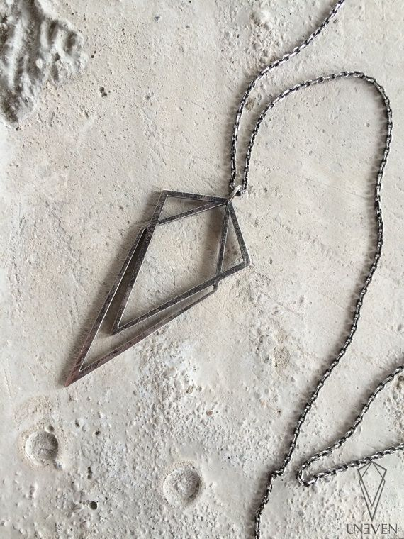 Uneven sterling silver pendant geometric by UnevenCreations