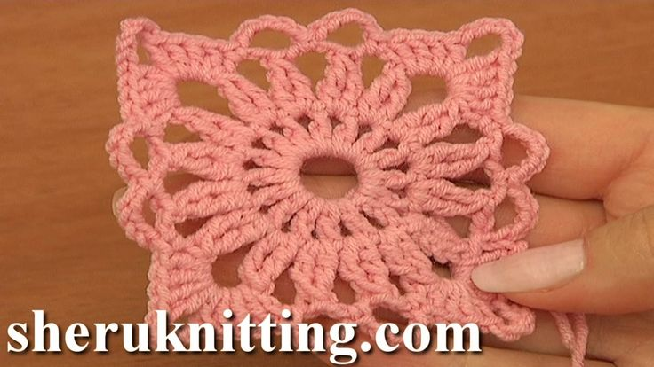 Crochet Small Square Motif Tutorial 4 Part 1 of 2 Joining Crochet Motifs