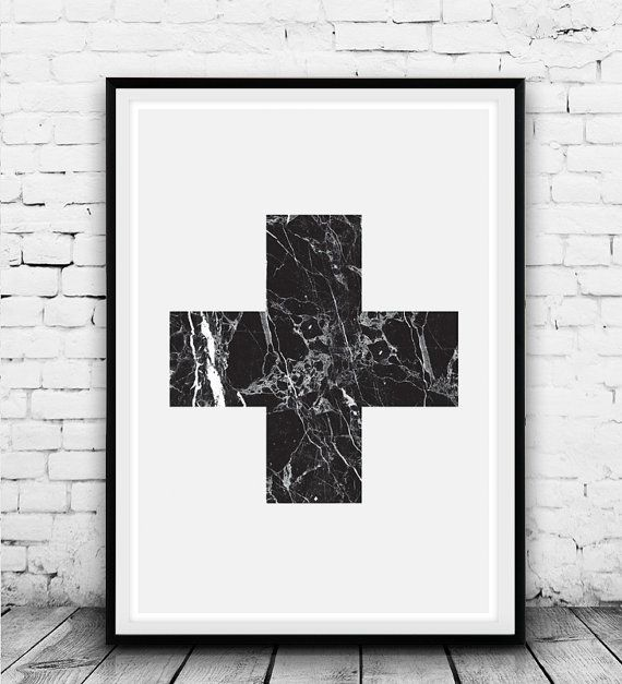Plus Sign White Cross Swiss Cross Art Black and White by Wallzilla