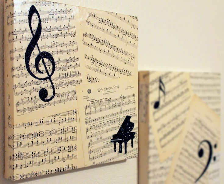 Completed Project Number 1 - canvas covered with decades old sheet music, overlaid with musical symbols in black glitter.
