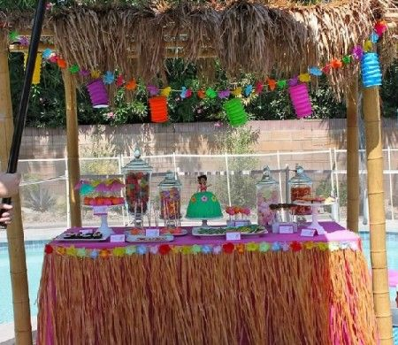 Hawaii themed kid's birthday party complete with hula dancing lessons. Such a fun idea!